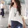 PRE-ORDER *Stylish Dots Two Pieces With Necklace T-shirt *